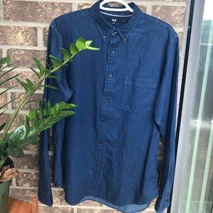 Uniqlo blue denim looking button down shirt